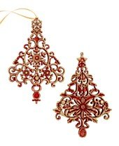 Holiday Lane Set of 4 Red & Gold Glitter Tree Filigree Ornaments