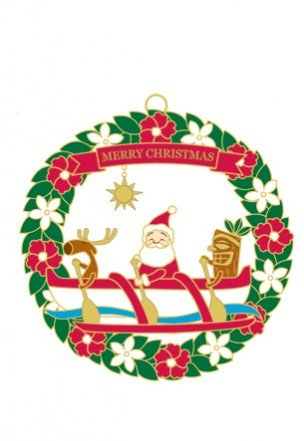 Metal Die Cut Ornaments SANTA'S OUTRIGGER CANOE