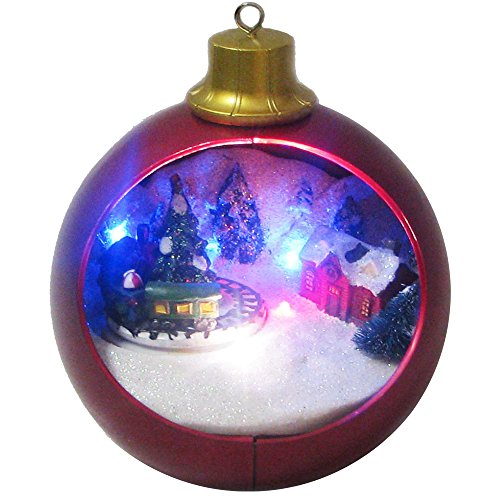 Kurt Adler Battery-Operated Christmas LED Globe with Moving Train, 7.2-Inch