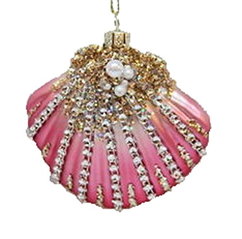 December Diamonds Blown Glass Embellished Pink Seashell Shell Christmas Ornament