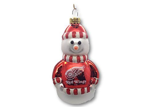 Detroit Red Wings Glass Snowman Ornament