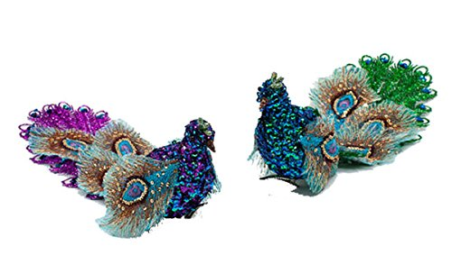 One Hundred 80 Degrees Encrusted Peacock Clip Ornaments (Set/2)