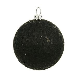 Vickerman Drilled Sequin Ball Ornaments, 6-Inch, Black, 4-Pack