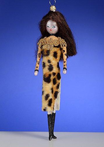 De Carlini Brunette in Fashion Leopardo Dress Italian Mouthblown Glass Christmas Ornament
