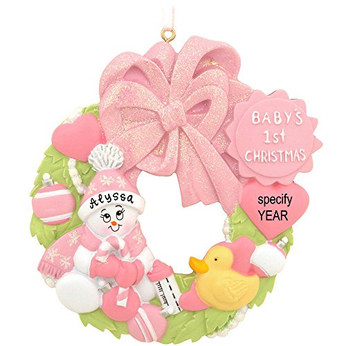 Pink Baby's First Christmas Wreath Personalized Ornament