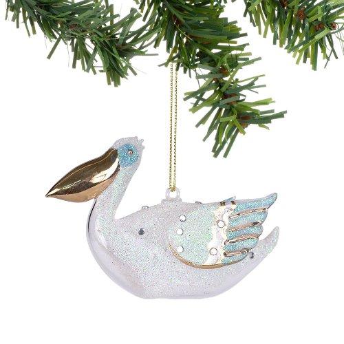 Department 56 Deck The Shores Christmas Decor Glass Pelican Ornament, 2.5-Inch