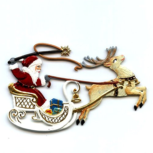 Santa in Sleigh- German Pewter Christmas Ornament