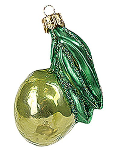 Green Olive Polish Mouth Blown Glass Christmas Ornament