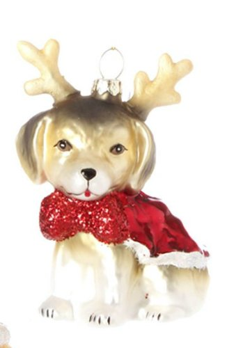 RAZ Imports Blown Glass Dog Ornament, Choice of Styles (reindeer)