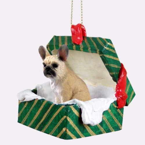 Conversation Concepts French Bulldog Fawn Gift Box Green Ornament