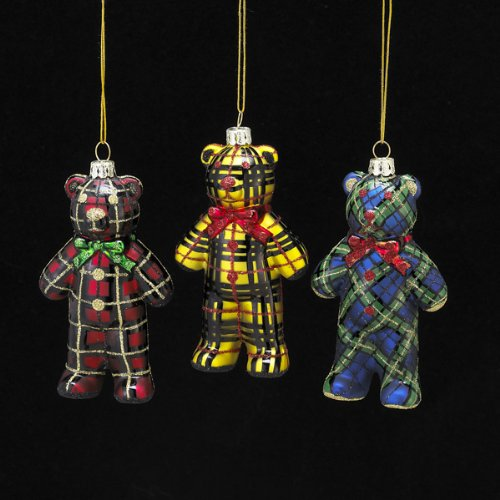 4.5″ Noble Gems Glass Plaid Bear Ornament