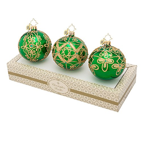 Christopher Radko Boxed Glass Ball Ornaments Green with Gold