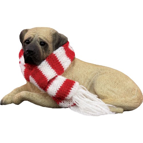 Sandicast Fawn Mastiff with Red and White Scarf Christmas Ornament