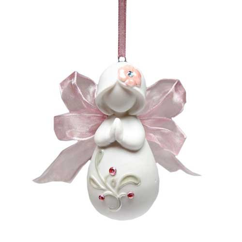Appletree Design Inspirations from Above Ribbon Praying Angel Ornament, 3-Inch Tall, Includes String for Hanging