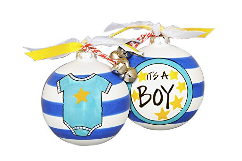 """Hand Painted """"It's A Boy"""" Striped Hanging Christmas Tree Ornament"""