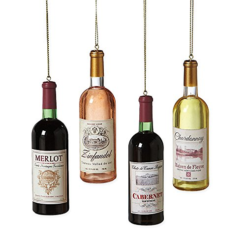 Set of 4 Acrylic Wine Bottle Christmas Ornaments – Merlot, Zinfandel, Cabernet, Chardonnay