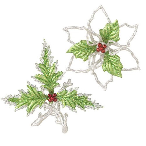 RAZ Imports – Glittered Green and Silver Poinsettia & Holly Ornaments