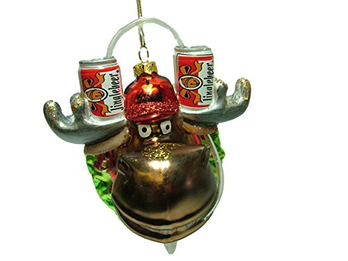 One Hundred 80 Degrees 4.5″ Glass Moose I Love Beer Hat Christmas Tree Ornament