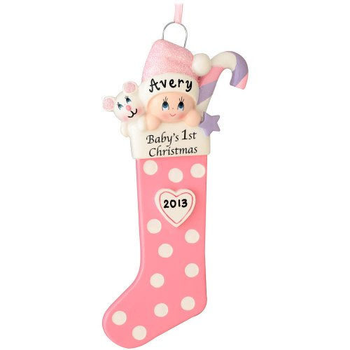 Pink Baby Girl Stocking Personalized Christmas Tree Ornament