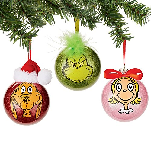 Department 56 Grinch Gang Selfie Set of 3 glass Ball Ornaments