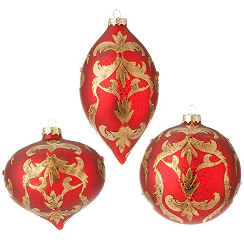 RAZ Imports – Garnet – Red 4″ Antiqued Scroll Gold and Gem Embellished Christmas Tree Ornament – Set of 3