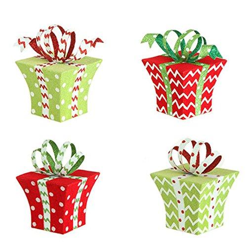 RAZ Imports – 4″ Flocked Christmas Present Christmas Tree Ornaments – Set of 4