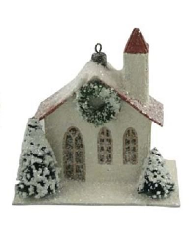 Bethany Lowe Christmas Traditional Paper House Ornament LG0778 (White)