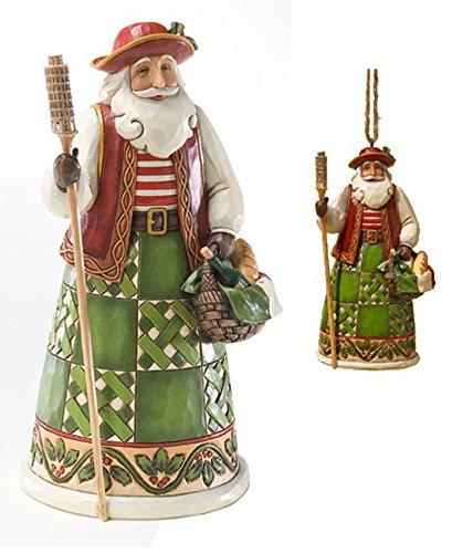 Jim Shore Italian Santa Bundle Set Figurine Statue & Matching Christmas Ornament