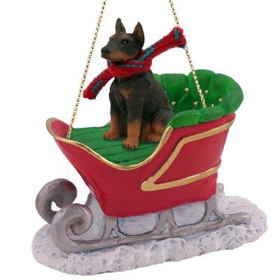 Doberman Pinscher Red w/Cropped Sleigh Ride Ornament