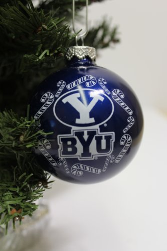BYU Cougars NCAA Candy Cane Traditional Glass Ball Christmas Ornament- 2 3/4″