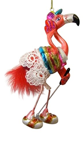 Pretty Flamingo Girl Playing Golf Christmas Holiday Ornament December Diamonds
