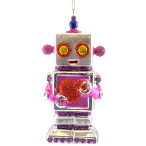 Holiday Ornament HEARTBOT ORNAMENT PINK Glass Christmas Robot Love TT0193 PINK