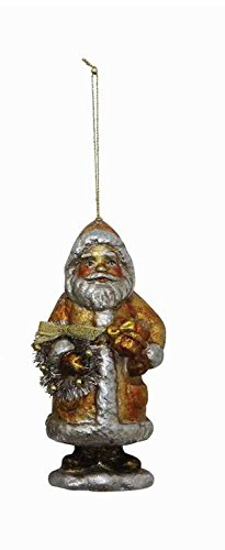 Gold and Silver Santa Clause Holding Wreath Hanging Christmas Tree Ornament