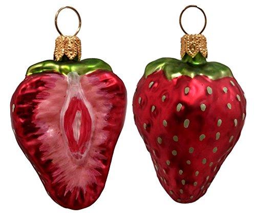 Strawberry Fruit Polish Mouth Blown Glass Christmas Ornament Set of 2