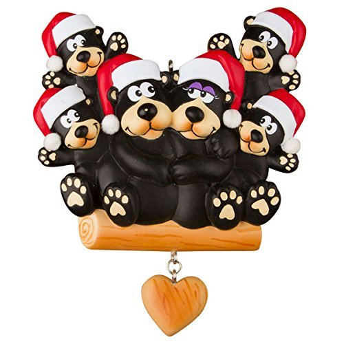 Black Bear Family of 3 Personalized Christmas Ornament