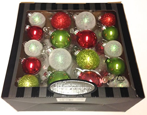 Celebrations by Christopher Radko Red Green White Ball Handcrafted Glass Ornament Set 36 Count