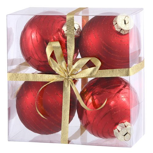 Vickerman Christmas Trees N110803A Assorted Ball Ornament, 80mm, Red, Set of 4