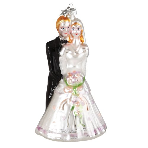 Midwest CBK Bride And Groom Glass Christmas Ornament