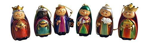 Metallic Jewel Tone Baby Christmas Nativity Ornaments, Set of 6