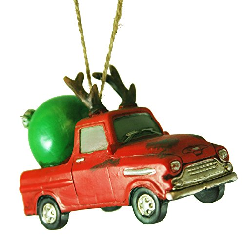 Vintage Red 60's Truck with Reindeer Antlers Hauling Giant Ball Ornament