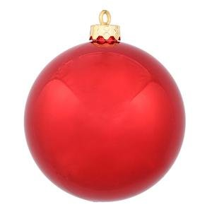Vickerman Drilled UV Shiny Ball Ornaments, 4.75-Inch, Red, 4-Pack