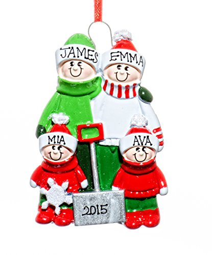 Family 4 Name Personalized Shovel Family Holiday Christmas Tree Ornament-Free Names Personalized – Shipped In One Day
