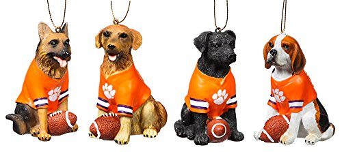 Team Dog Ornaments, 4 Assort., Clemson University