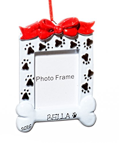 Picture Frame Christmas Dog Bone Frame Holiday Ornament-Free Name Personalized-Shipped In One Day