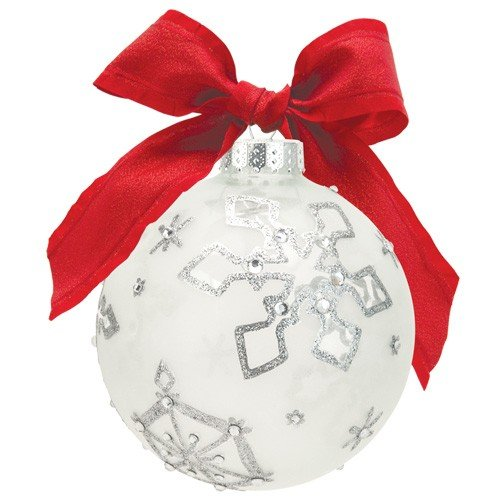 Santa Barbara Design Studio Lolita Holiday Moments Glass Ball Ornament, Silver Snowflake Too