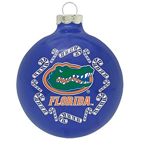 NCAA Candy Cane Traditional Glass Ball Christmas Ornament- 2 5/8″-Florida Gators