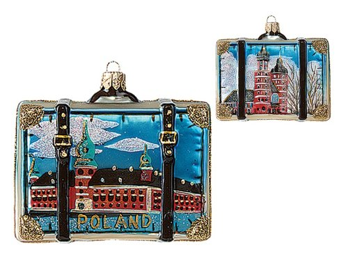 Poland Travel Suitcase Polish Mouth Blown Glass Christmas Ornament