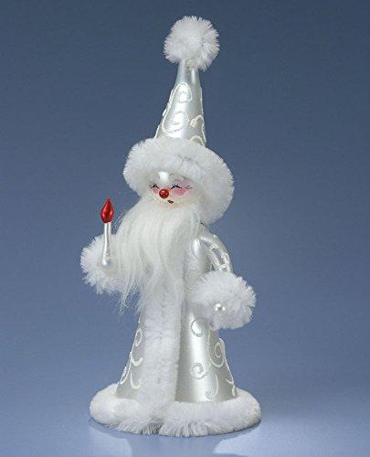 De Carlini White Magician Santa Italian Mouthblown Glass Christmas Ornament