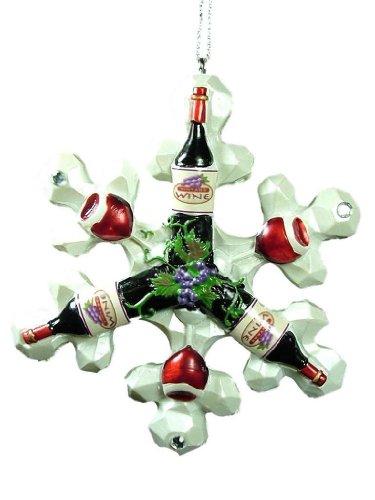 Midwest Red Wine Snowflake Grape Vine Rhinestone Christmas Tree Ornament