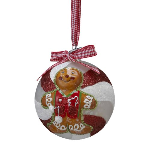 Kurt Adler Noble Gems Glass Gingerbread Boy Ball Ornament, 80mm